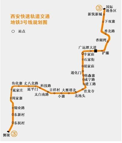 西安地铁三号线线路图图片