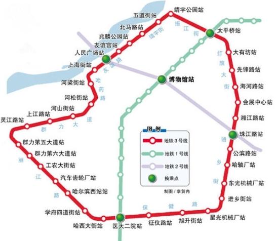 哈尔滨地铁3号线站点