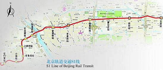 北京地铁s1线线路图图片