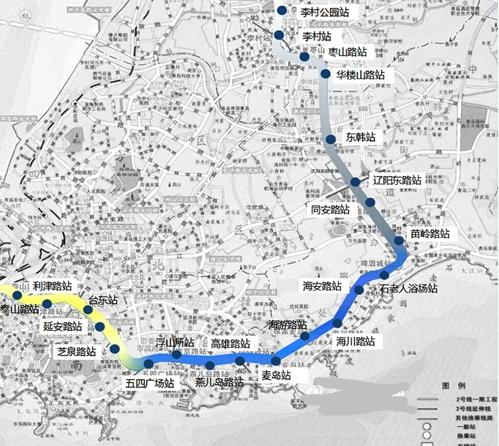 青岛地铁2号线线路图