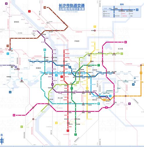 長沙地鐵規劃高清圖