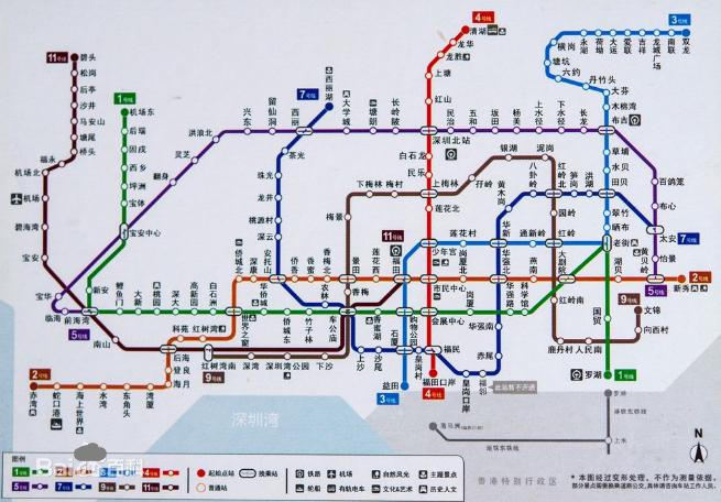 2016年深圳地铁线路图