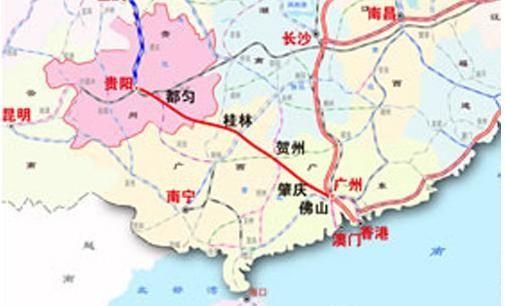 贵广高铁线路图:贵阳-都匀-桂林-贺州-肇庆-佛山-广州,我国西南