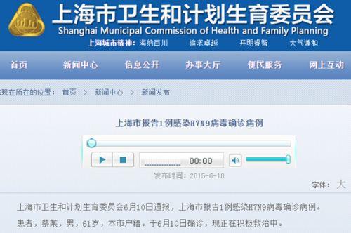 上海确诊1例H7N91