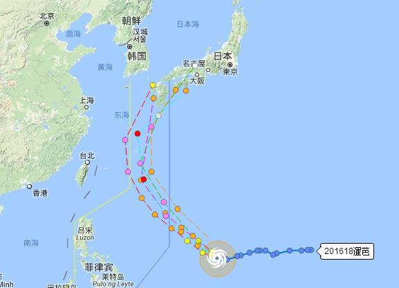 2016年第18号台风暹芭实时路线图