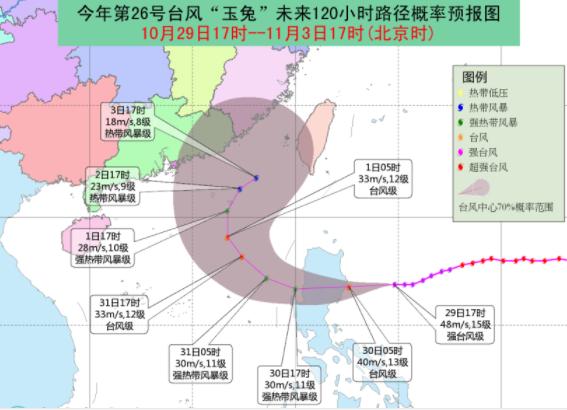 2018年第26号台风玉兔最新路径图1